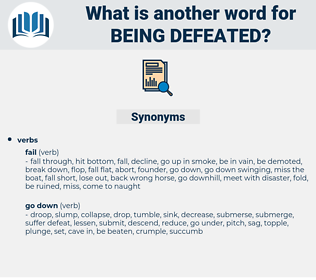 being defeated, synonym being defeated, another word for being defeated, words like being defeated, thesaurus being defeated