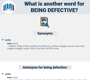 being defective, synonym being defective, another word for being defective, words like being defective, thesaurus being defective