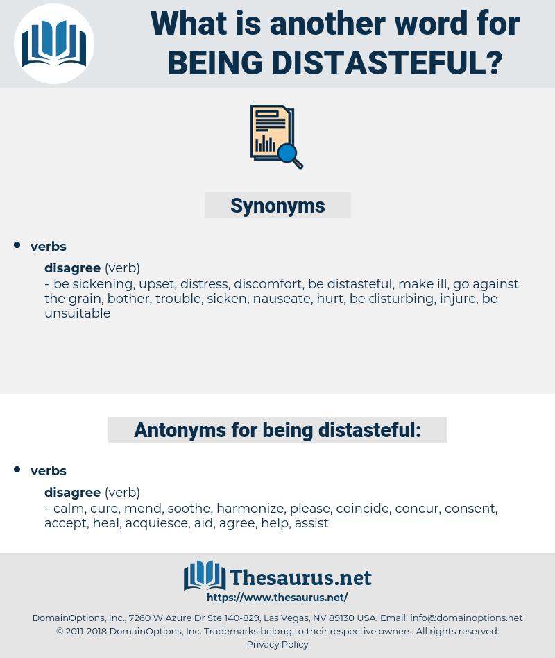 being distasteful, synonym being distasteful, another word for being distasteful, words like being distasteful, thesaurus being distasteful