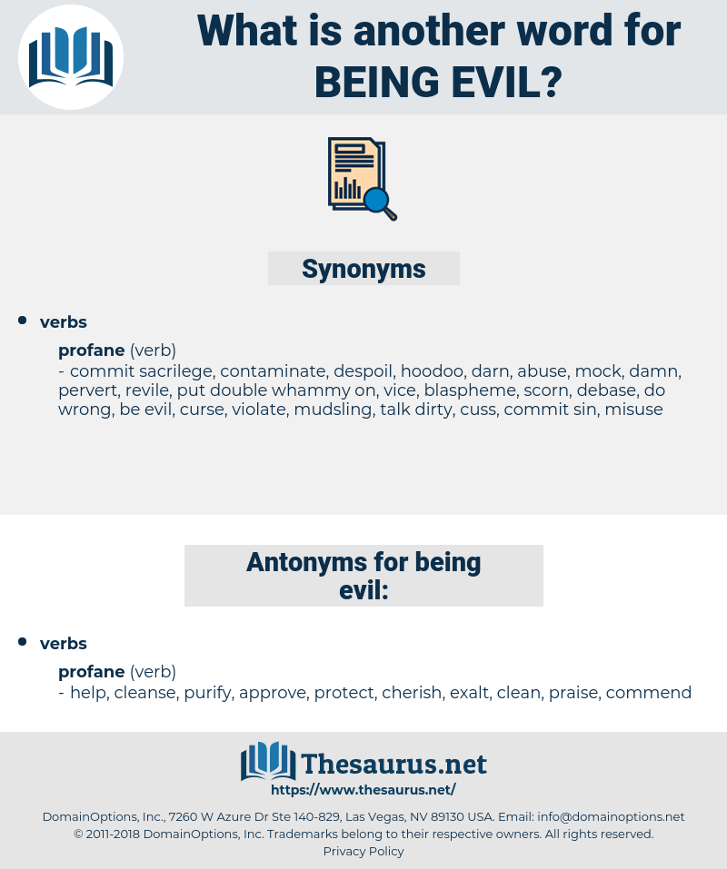 being evil, synonym being evil, another word for being evil, words like being evil, thesaurus being evil