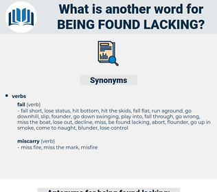 being found lacking, synonym being found lacking, another word for being found lacking, words like being found lacking, thesaurus being found lacking