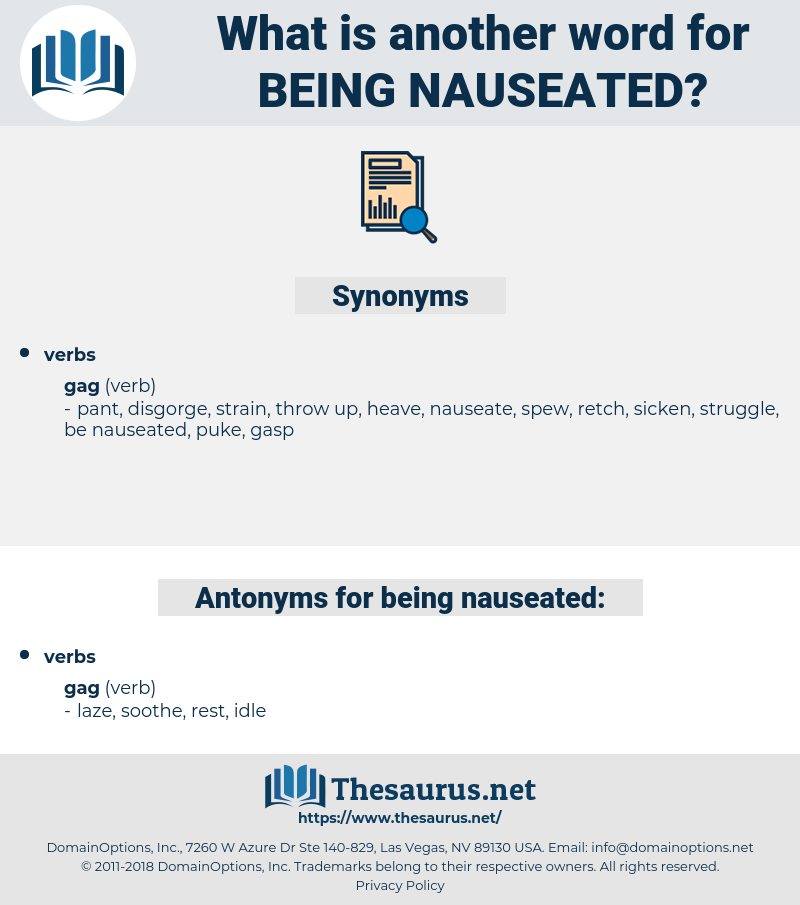 being nauseated, synonym being nauseated, another word for being nauseated, words like being nauseated, thesaurus being nauseated