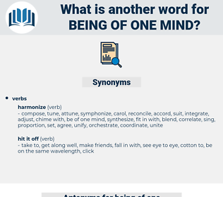 being of one mind, synonym being of one mind, another word for being of one mind, words like being of one mind, thesaurus being of one mind