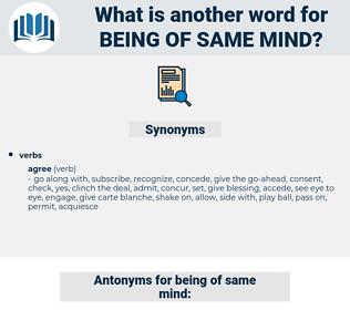 being of same mind, synonym being of same mind, another word for being of same mind, words like being of same mind, thesaurus being of same mind