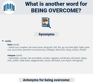 being overcome, synonym being overcome, another word for being overcome, words like being overcome, thesaurus being overcome