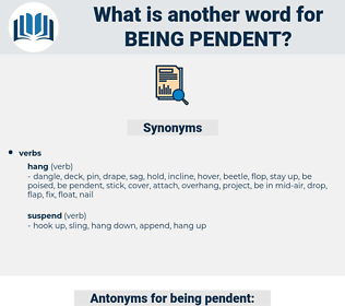 being pendent, synonym being pendent, another word for being pendent, words like being pendent, thesaurus being pendent