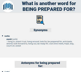 being prepared for, synonym being prepared for, another word for being prepared for, words like being prepared for, thesaurus being prepared for