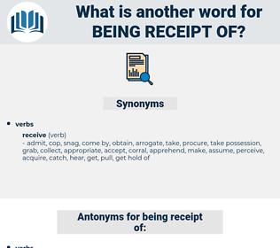 being receipt of, synonym being receipt of, another word for being receipt of, words like being receipt of, thesaurus being receipt of