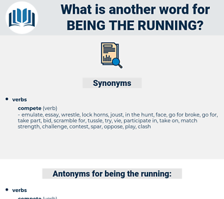 being the running, synonym being the running, another word for being the running, words like being the running, thesaurus being the running