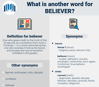 believer, synonym believer, another word for believer, words like believer, thesaurus believer