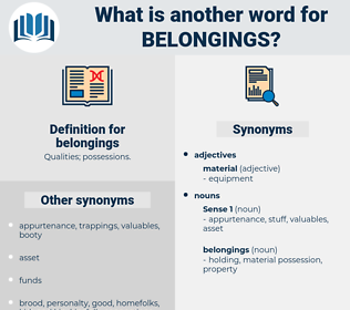 belongings, synonym belongings, another word for belongings, words like belongings, thesaurus belongings