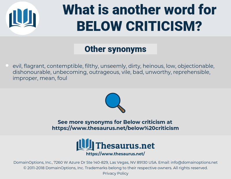 Synonyms for BELOW CRITICISM - Thesaurus net