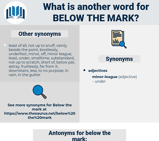 below the mark, synonym below the mark, another word for below the mark, words like below the mark, thesaurus below the mark