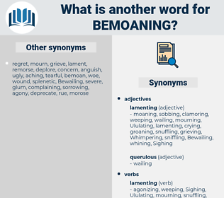 Bemoaning, synonym Bemoaning, another word for Bemoaning, words like Bemoaning, thesaurus Bemoaning