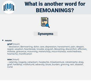 bemoanings, synonym bemoanings, another word for bemoanings, words like bemoanings, thesaurus bemoanings