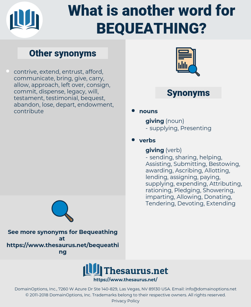 Bequeathing, synonym Bequeathing, another word for Bequeathing, words like Bequeathing, thesaurus Bequeathing