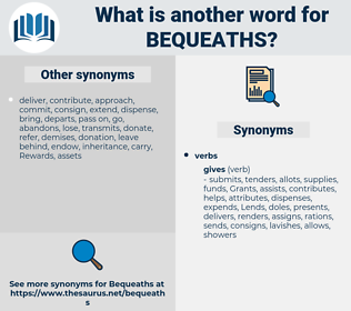 bequeaths, synonym bequeaths, another word for bequeaths, words like bequeaths, thesaurus bequeaths
