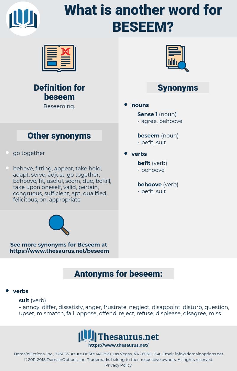 beseem, synonym beseem, another word for beseem, words like beseem, thesaurus beseem