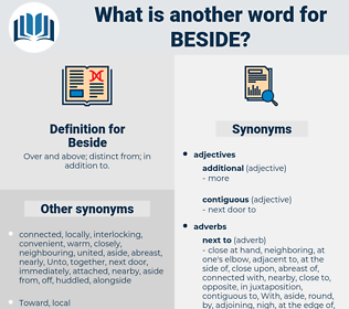 Beside, synonym Beside, another word for Beside, words like Beside, thesaurus Beside