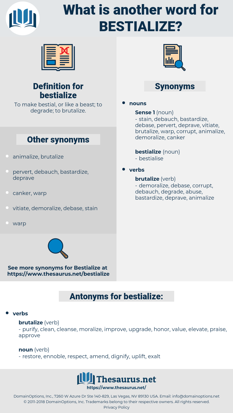 bestialize, synonym bestialize, another word for bestialize, words like bestialize, thesaurus bestialize