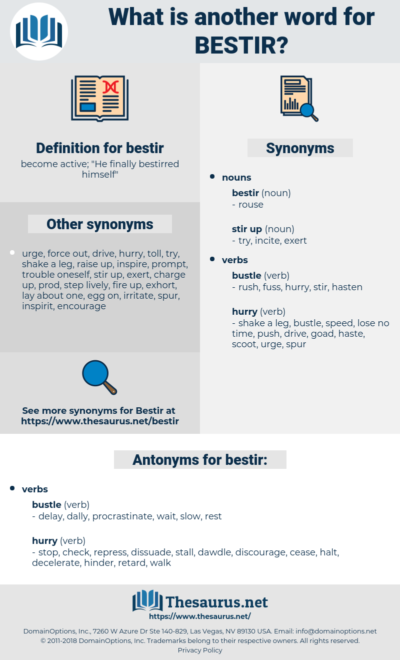 bestir, synonym bestir, another word for bestir, words like bestir, thesaurus bestir