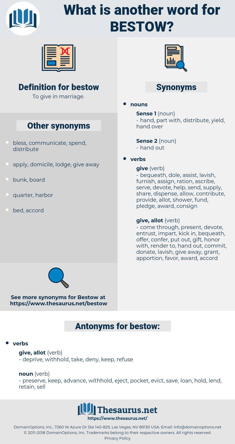 bestow, synonym bestow, another word for bestow, words like bestow, thesaurus bestow