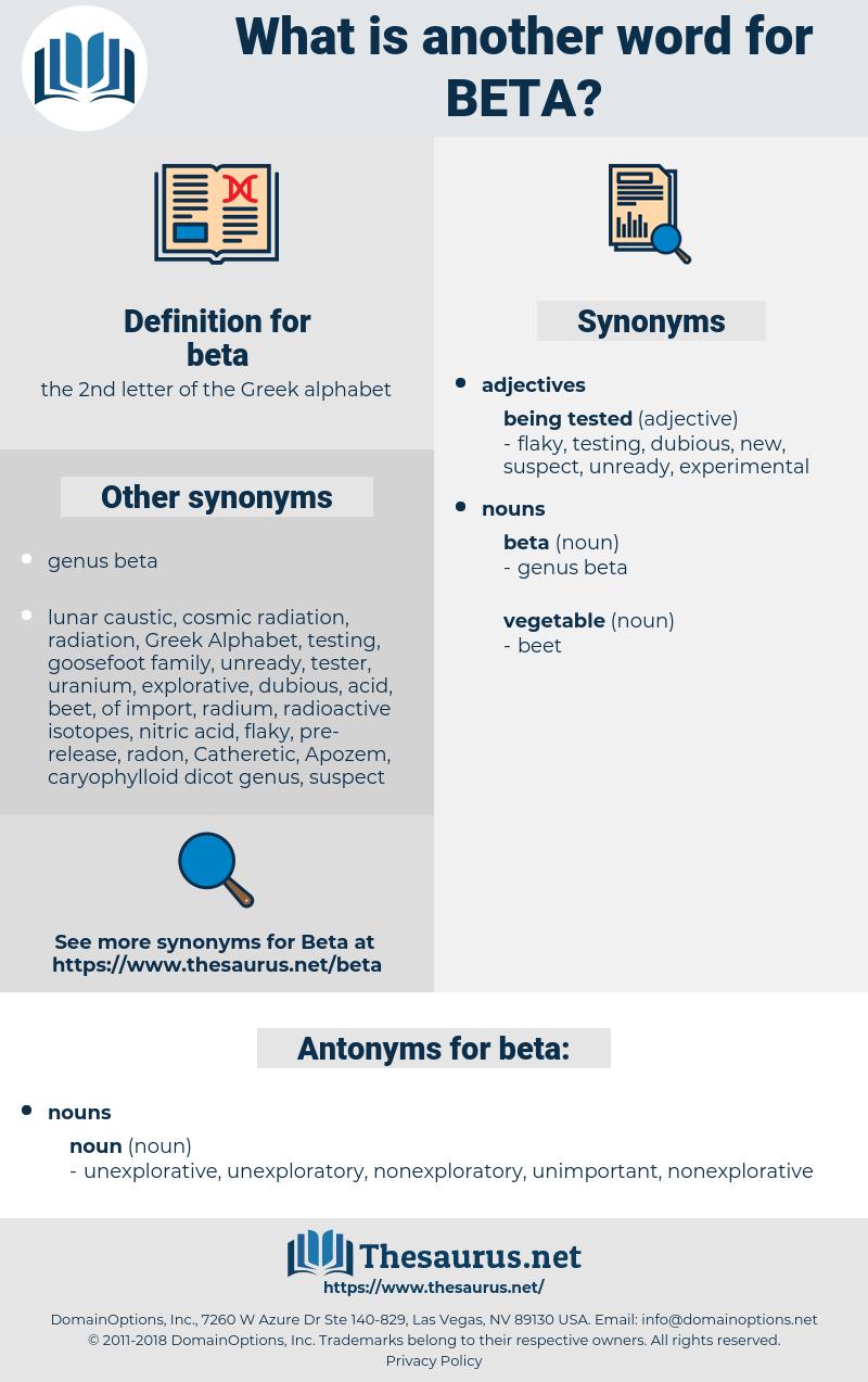 beta, synonym beta, another word for beta, words like beta, thesaurus beta
