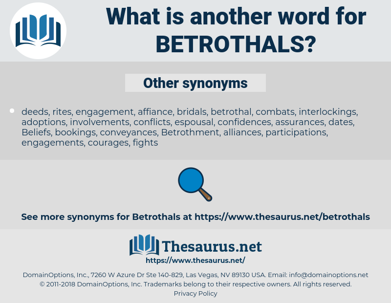 betrothals, synonym betrothals, another word for betrothals, words like betrothals, thesaurus betrothals