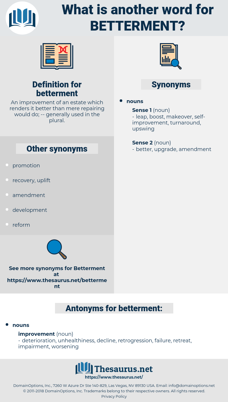 betterment, synonym betterment, another word for betterment, words like betterment, thesaurus betterment