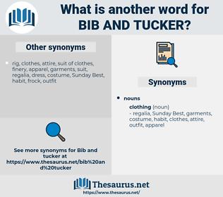 bib and tucker, synonym bib and tucker, another word for bib and tucker, words like bib and tucker, thesaurus bib and tucker