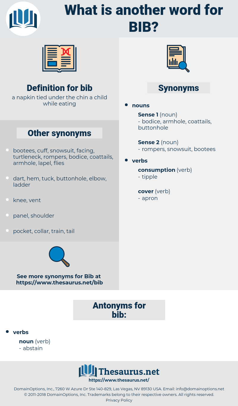 bib, synonym bib, another word for bib, words like bib, thesaurus bib