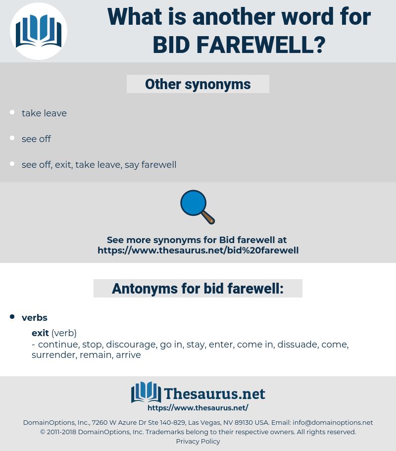 Synonyms For Bid Farewell Thesaurus Net