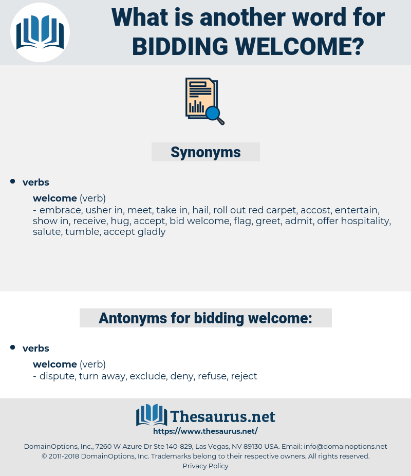 bidding welcome, synonym bidding welcome, another word for bidding welcome, words like bidding welcome, thesaurus bidding welcome