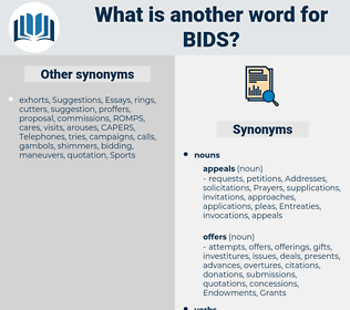 bids, synonym bids, another word for bids, words like bids, thesaurus bids