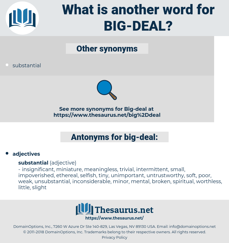 big deal, synonym big deal, another word for big deal, words like big deal, thesaurus big deal