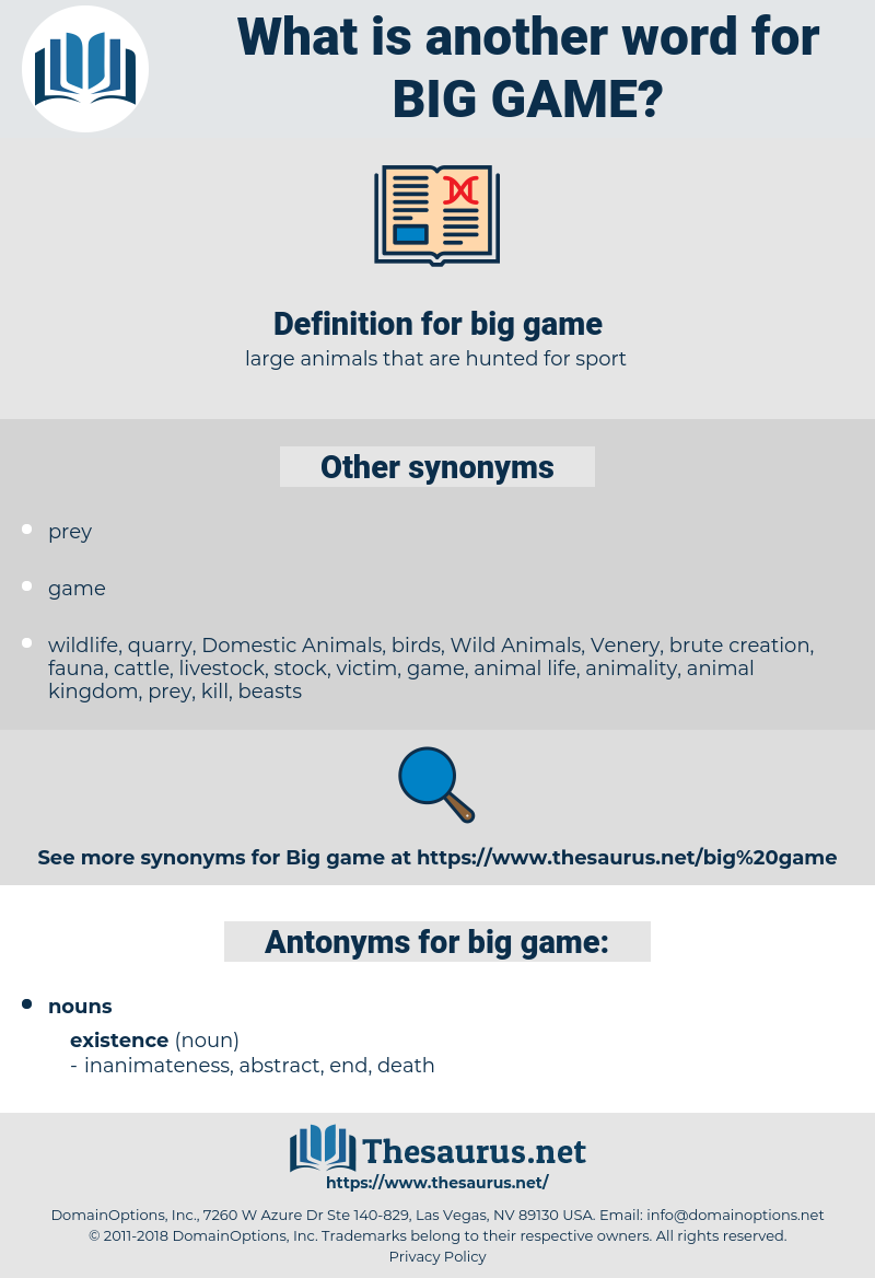 big game, synonym big game, another word for big game, words like big game, thesaurus big game