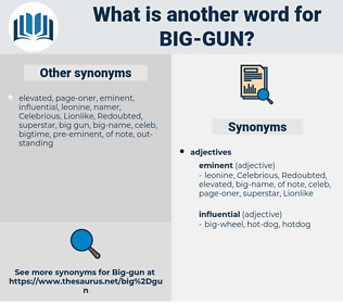 big gun, synonym big gun, another word for big gun, words like big gun, thesaurus big gun