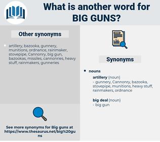 big guns, synonym big guns, another word for big guns, words like big guns, thesaurus big guns