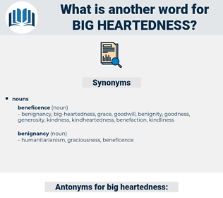 big heartedness, synonym big heartedness, another word for big heartedness, words like big heartedness, thesaurus big heartedness