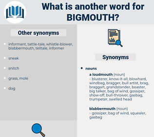 bigmouth, synonym bigmouth, another word for bigmouth, words like bigmouth, thesaurus bigmouth