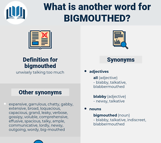 bigmouthed, synonym bigmouthed, another word for bigmouthed, words like bigmouthed, thesaurus bigmouthed