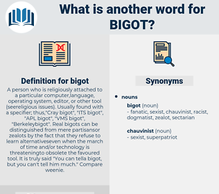 bigot, synonym bigot, another word for bigot, words like bigot, thesaurus bigot