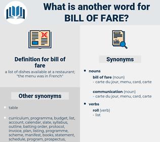 bill of fare, synonym bill of fare, another word for bill of fare, words like bill of fare, thesaurus bill of fare