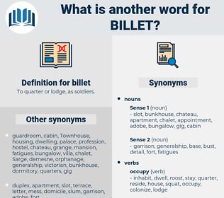 billet, synonym billet, another word for billet, words like billet, thesaurus billet