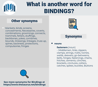 bindings, synonym bindings, another word for bindings, words like bindings, thesaurus bindings