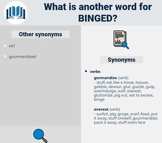 binged, synonym binged, another word for binged, words like binged, thesaurus binged