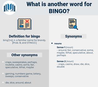 bingo, synonym bingo, another word for bingo, words like bingo, thesaurus bingo