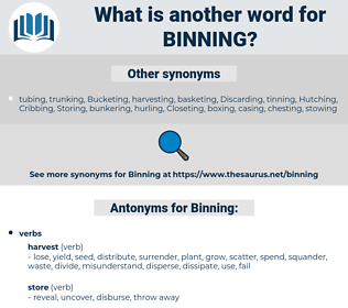 Binning, synonym Binning, another word for Binning, words like Binning, thesaurus Binning