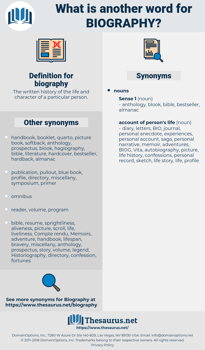 biography, synonym biography, another word for biography, words like biography, thesaurus biography