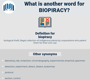 biopiracy, synonym biopiracy, another word for biopiracy, words like biopiracy, thesaurus biopiracy